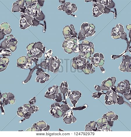 Bergenia crassifolia blossom seamless pattern. Vector hand-drawn illustration