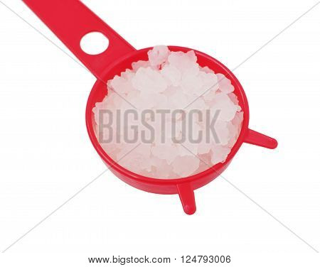 fungus - zooglea 'Indian Maritime rice' in strainer, on white isolated, local focus, shallow DOF poster