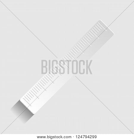 Centimeter ruler sign. Paper style icon with shadow on gray.