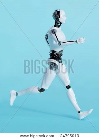 A male robot running, image 2. Blue background.