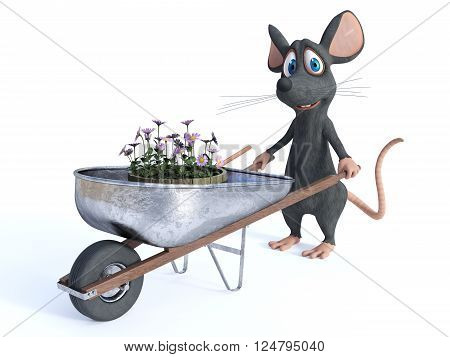 A cute smiling cartoon mouse holding a wheelbarrow with flowers, ready to do some gardening. White background.