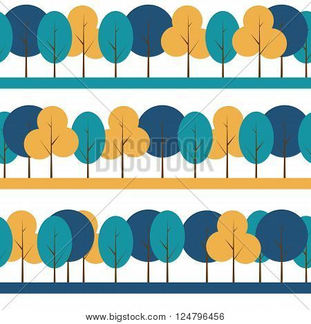 Different Trees Natural Seamless Pattern Background Illustration