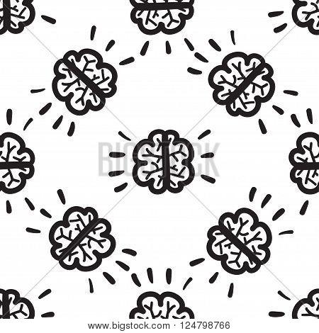 Brain seamless pattern vector hand drawn illustration