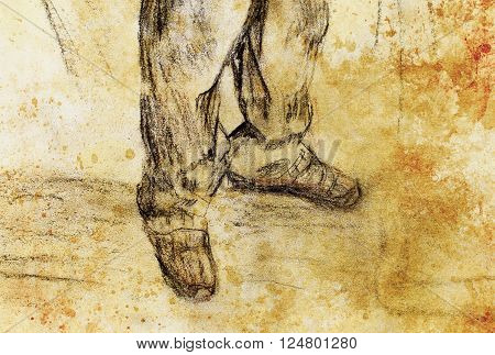 art drawing man legs and color abstract  background