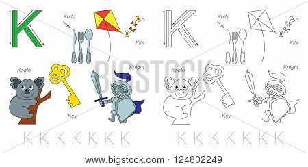 Tracing Worksheet for children. Full english alphabet from A to Z, pictures for letter K