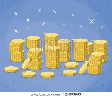 Stacks of gold coins.  The concept of profit. vector illustration in flat design on blue background