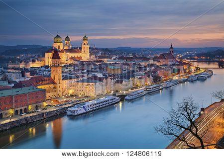 Passau. Passau skyline during twilight blue hour, Bavaria, Germany. poster