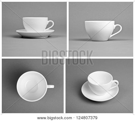 Collection of empty white cups on gray background top front side view
