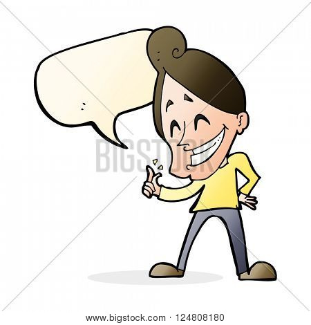 cartoon man snapping fingers with speech bubble
