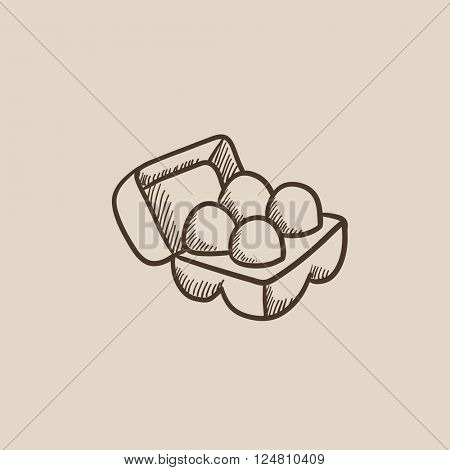 Eggs in carton package sketch icon.