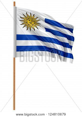 3D Uruguayan flag with fabric surface texture. White background.