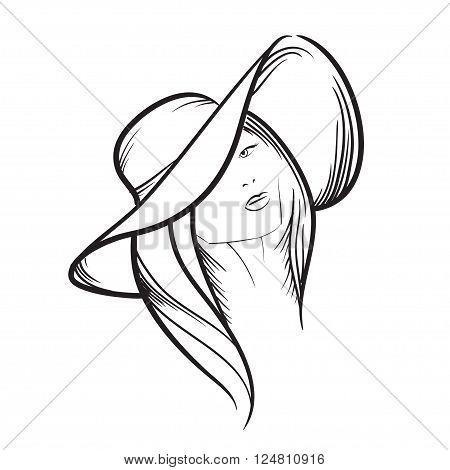 Hand Drawn Model Woman Vector Icon Illustration .