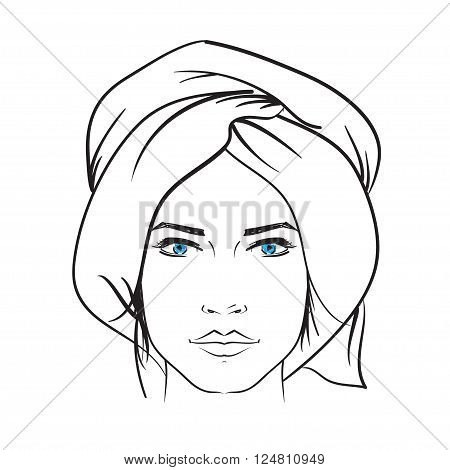 Hand Drawn Model Woman Vector Icon Illustration .