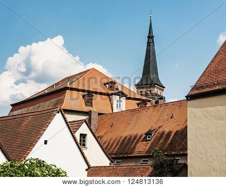 Red roofs and tower of church in Schwabach city, Germany