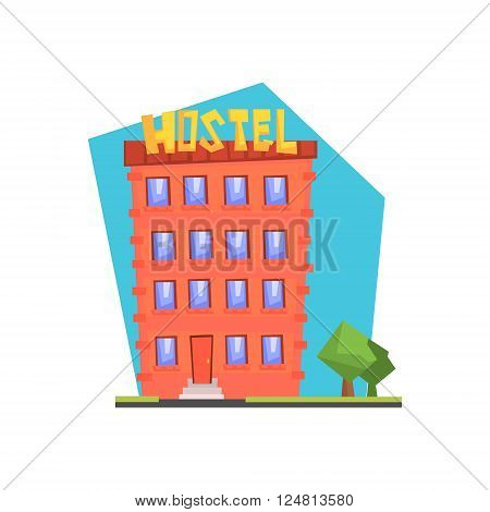 Hostel Building Flat Isolated Colorful Illustration In Cartoon Geometric Style On White Background