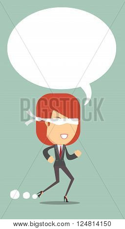 Woman blindfolded runs steadily forward, not afraid to fall, vector illustration