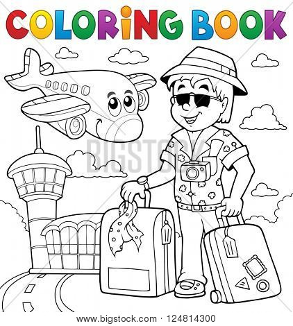 Coloring book travel thematics 2 - eps10 vector illustration.