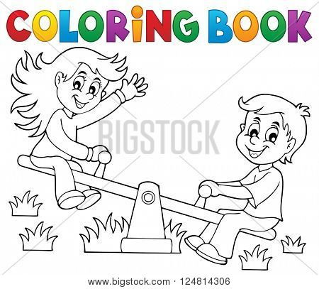Coloring book children on seesaw theme 1 - eps10 vector illustration.