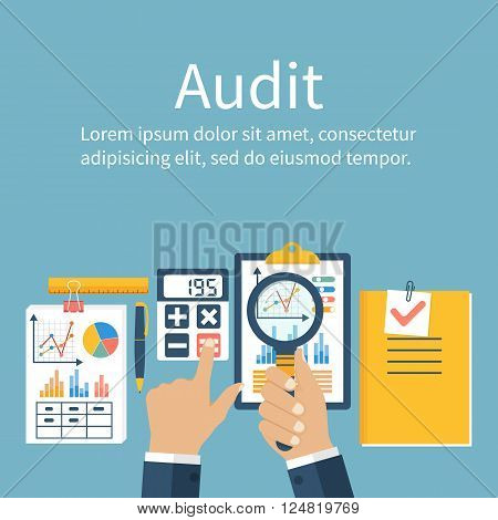 Auditing concepts. Auditor at table during examination of financial report. Financial audit. Auditing tax process. Research project management planning accounting analysis data. Vector flat style poster