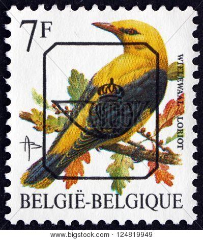 BELGIUM - CIRCA 1992: a stamp printed in the Belgium shows Old World Oriole Oriolidae passerine birds circa 1992