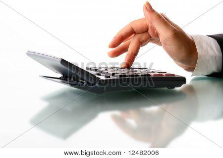 girl hand calculate