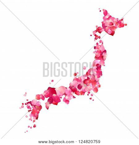 Japan. Vector Silhouette of Japanese islands map of rose petals