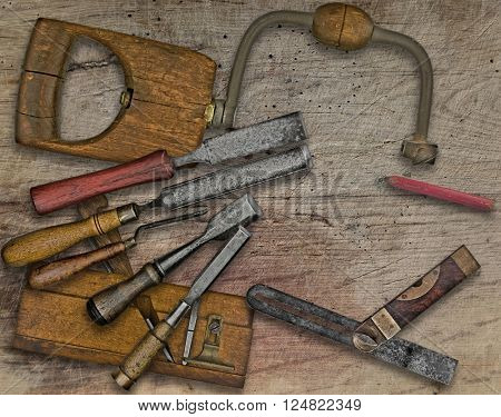 vintage woodworking  tools over wooden bench, space  for your text