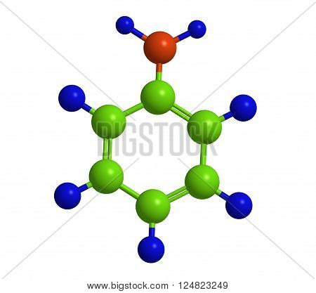 Molecular structure of aniline - toxic organic compound, 3D rendering