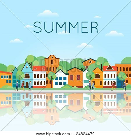 Summer Old city landscape with reflection in the water. Colorful Houses and Canal. Old Town, old Europe, trip to Europe, Holland. Summer holiday. Tourism and vacation. Flat design vector illustration.