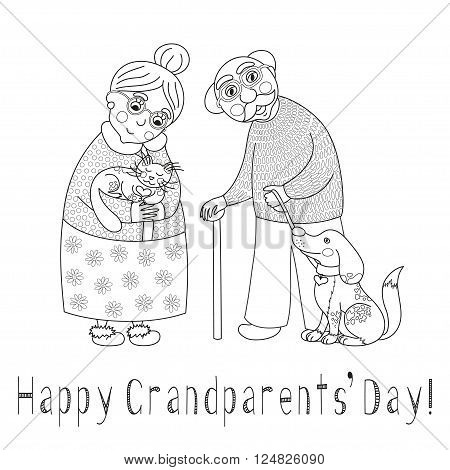 Happy grandparents day card. Poster with cute darling grandmother and grandfather, granny and grandpa, their cat and dog on leash, vector illustration, coloring book page for children