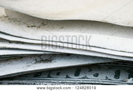 Stack of paper ready for recycling circle