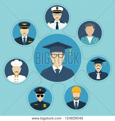 Student with a choice of professions. Career choice options. Set of people occupations icons flat design style. Vector illustration. Education and career concept. Graduate choice. Professions people.
