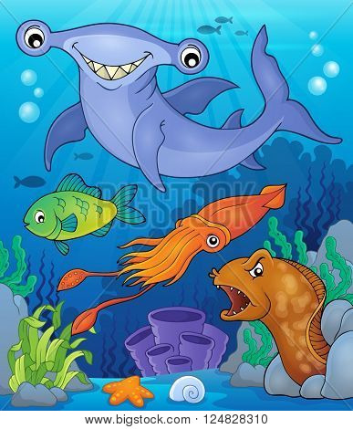Ocean fauna topic image 7 - eps10 vector illustration. poster