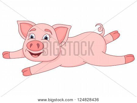 Vector illustration of cute pig, funny piggy lies and smiling
