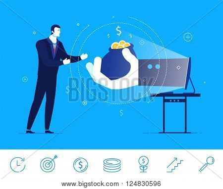 Flat design vector concept illustration. Businessman gets money from online commerce. Choose the right path. Vector clipart. Icons set.