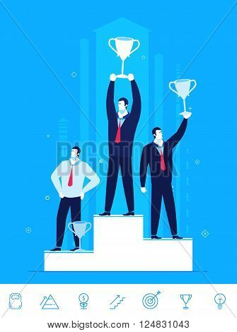 Flat design vector concept illustration. Teamwork. Businessmen standing with prizes for good work. Choose the right path. Vector clipart. Icons set.