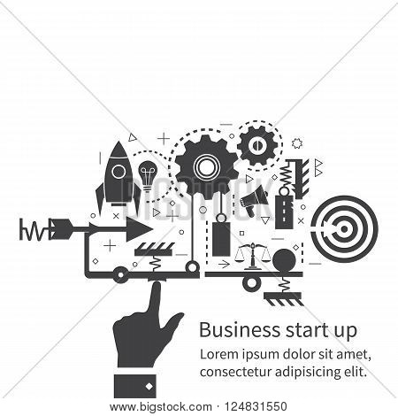 Start up new business project. Flat design vector illustration. Start up business concept. Icons and symbols of business planning strategy and start-up. The mechanism of start-up business