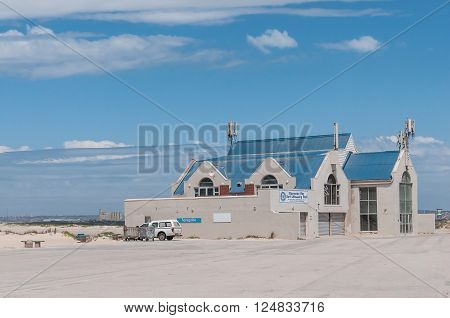 PORT ELIZABETH SOUTH AFRICA - FEBRUARY 26 2016: The building of the Bluewater Bay Surf Lifesaving Club at the mouth of the Swartkops River