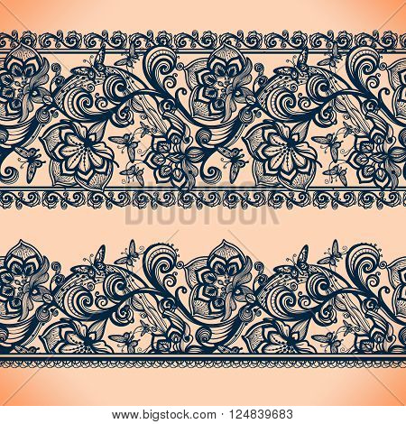Abstract Lace Ribbon banners.Template frame design for card.Lace Doily.Can be used for packaging, invitations, and template.