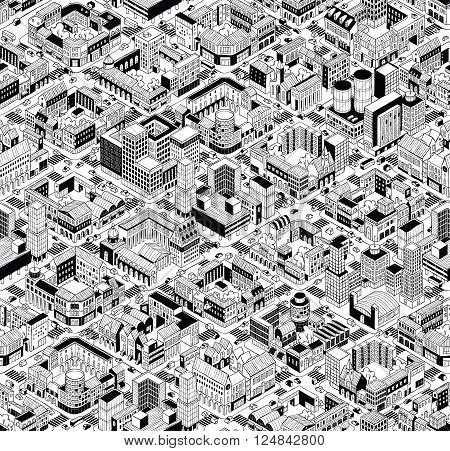 City Urban Blocks Seamless Pattern (Large) in isometric projection is hand drawing with perimeter blocks courtyards streets and traffic. Illustration is in eps8 vector mode pattern is repetitive.