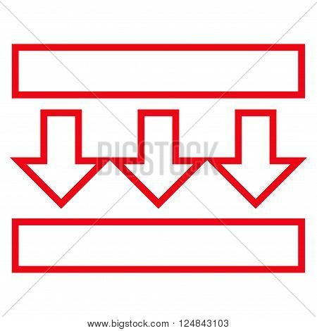 Pressure Vertical vector icon. Style is outline icon symbol, red color, white background.