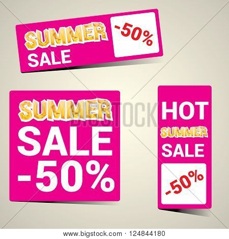 vector hot summer sale sticker . summer sale banner or label