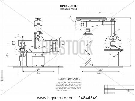 technical drawing design project construction plan with horizontal frame on the white background. stock vector illustration eps10