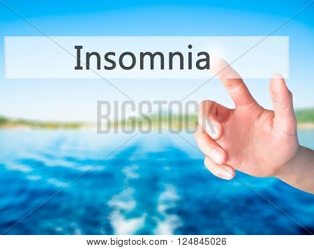 Insomnia - Hand Pressing A Button On Blurred Background Concept On Visual Screen.