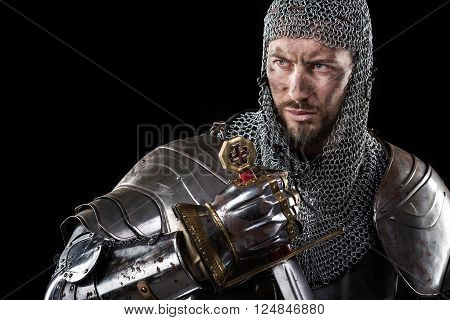 Medieval Warrior With Chain Mail Armour And Sword
