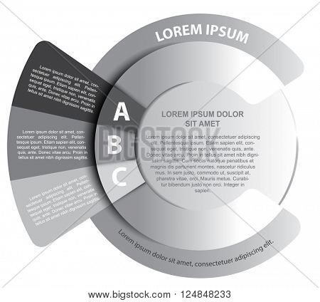 Infographic grayscale circle background with three ABC tabs and place for text