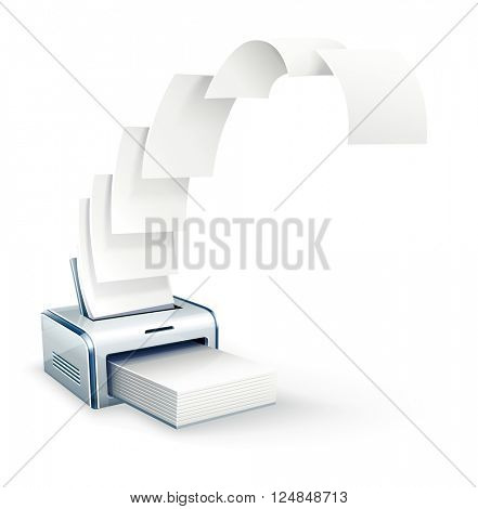 Printer printing copies to white paper vector icon. Illustration. Transparent objects used for lights and shadows drawing