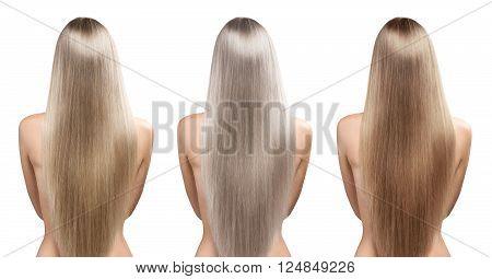 Hair coloring. Blond hair tones. Natural straight healthy hair.
