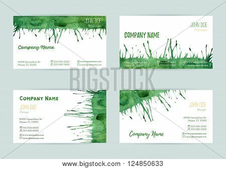 Set of hand painted watercolor horizontal business card templates. Colorful bright abstract green brush stocks and splashes on a white background. Complied with the standard size.