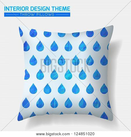 Decorative Water Drop Throw Pillow design template. Original pattern is complete masked. Modern interior design element. Creative Sofa Toss Pillow. Vector design is layered editable